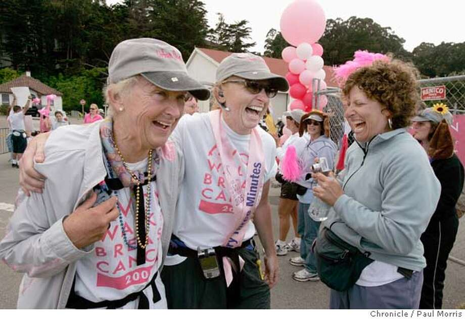 Filename BREAST09JULY05DPM006.JPG  Content_Date 6/7/2005  Caption/Body Text SAN FRANCISCO - JULY 9: (L-R) Lura Robertson and Kathy Gray are greeted at Crissy Field by Barbara Rosner as they complete the first day of the Avon Walk For Breast Cancer on July 9, 2005 in San Francisco, California. (Photo by David Paul Morris/ The Chronicle) Ran on: 07-10-2005  Lura Robertson (left) and Kathy Gray finish the first leg of the 40-mile, two-day Avon Walk for Breast Cancer, as Barbara Rosner cheers. Ran on: 07-10-2005  Lura Robertson (left) and Kathy Gray finish the first leg of the 40-mile, two-day Avon Walk for Breast Cancer, as Barbara Rosner cheers.  Byline David Paul Morris  Title Staff  Credit San Francisco Chronicle  Source SFC  City SAN FRANCISCO  State CA  Country United States  Category �  Orig_Trans_Ref �  Notes �  Object_Name cancer10_PH1  Writer dpm  Status �  Insertion_Time 7/9/2005 6:39:36 PM  Headline Joan Bavaria CEO of Trillium Investment in San Francisco  Special_Instructions �  Keywords �