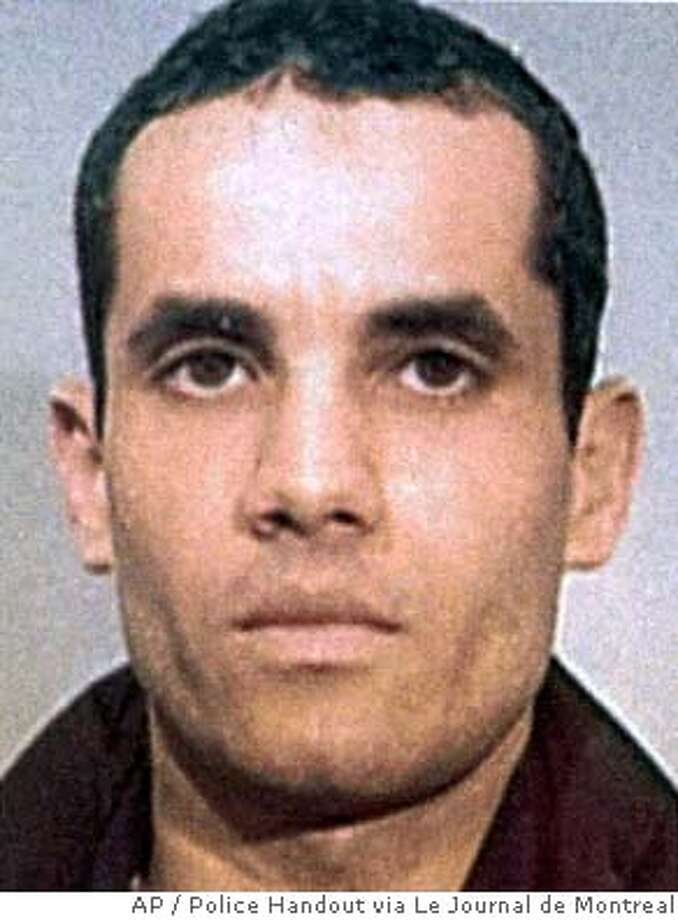 ** FILE ** Algerian Ahmed Ressam is seen in this undated police handout photo. The 9th U.S. Circuit Court of Appeals in San Francisco Tuesday, Jan. 16, 2007, reversed his conviction on one of nine charges of which he was convicted and sent the case back to a lower court to issue a new sentence and explain the rationale behind the original 22-year term. Ressam was arrested near the U.S.-Canadian border and convicted of plotting to bomb Los Angeles International Airport at the turn of the millennium. (AP Photo/CP, Police Handout via Le Journal de Montreal) MONTREAL OUT **FILE** Photo: File
