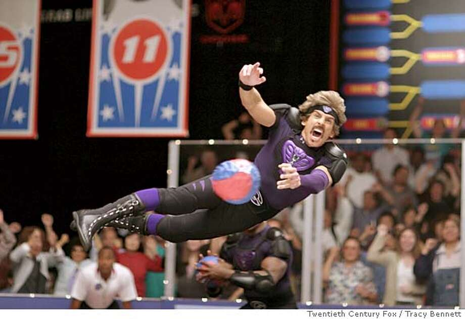 During the ultimate dodgeball competition, a colorfully clad Ben Stiller takes flight in Dodgeball: A True Underdog Story Photo credit: Tracy Bennett  TM and � 2003 Twentieth Century Fox. All rights reserved. also ran 06/18/2004 ProductNameSundayDatebook Ran on: 06-18-2004  Ben Stiller, all dolled up for a big contest, plays a hard-bodied fitness mogul in &quo;Dodgeball.&quo; Ran on: 09-05-2004  &quo;DodgeBall: A True Underdog Story,&quo; starring Ben Stiller, has made $113 million on an estimated $20 million budget.