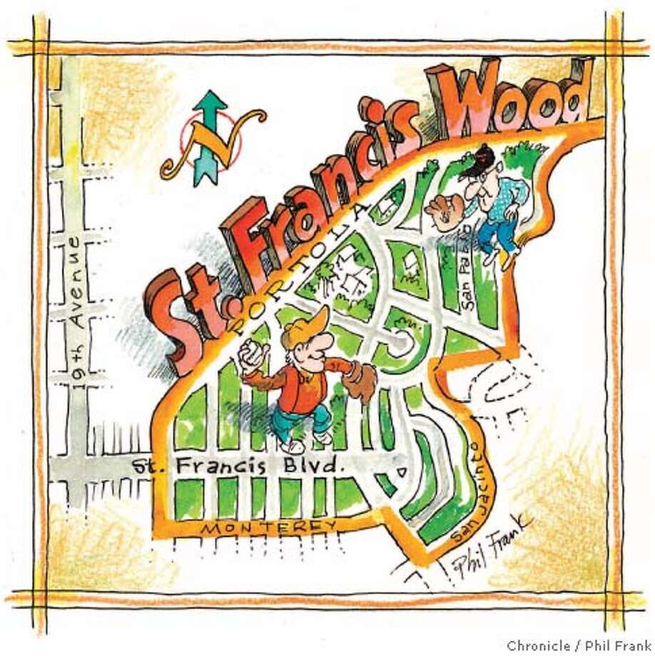 With the streetcar came 30 or so subdivisions, and St. Francis Wood has always been at the top of the heap. Chronicle illustration by Phil Frank