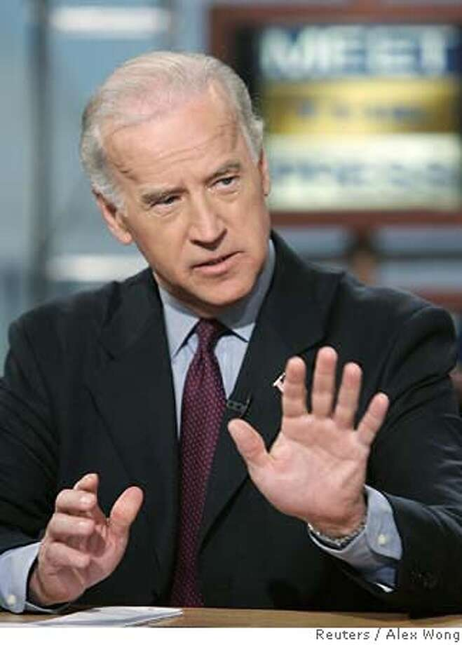 """U.S. Sen. Joseph Biden (D-De) speaks during a taping of """"Meet the Press"""" at the NBC studios in Washington January 7, 2007. Biden discussed the current situation in Iraq and whether the U.S. should send more troops. , NO ARCHIVE, MUST USE BEFORE JANUARY 14, 2007, MUST CREDIT """"MEET THE PRESS"""" FOR EDITORIAL USE ONLY REUTERS/Alex Wong/Meet the Press/Handout (UNITED STATES) Photo: HO"""