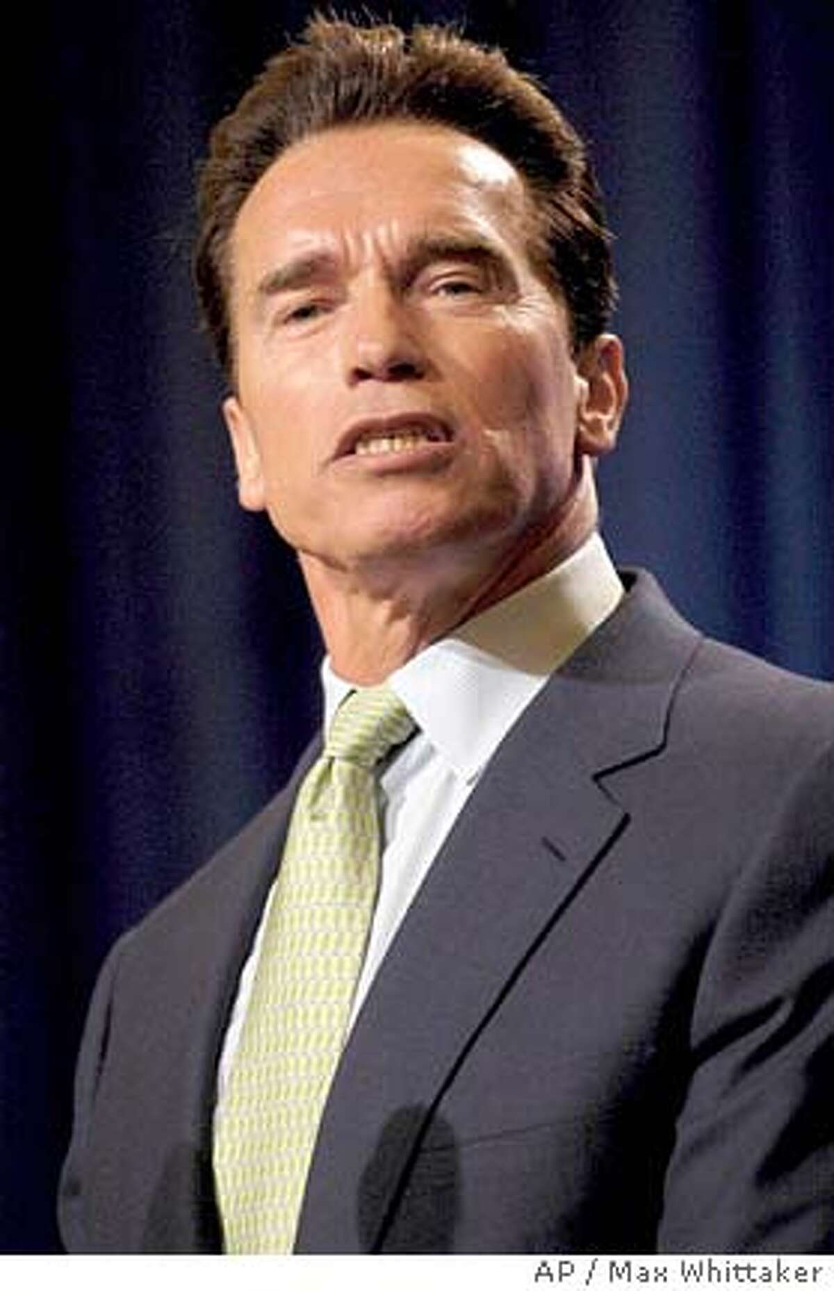 California Governor Arnold Schwarzenegger discusses his redistricting reform proposal at the Public Policy Institute of California and New America Foundation's Legislative Reform luncheon in Sacramento, Calif. on Feb. 24, 2005. (AP Photo/Max Whittaker)