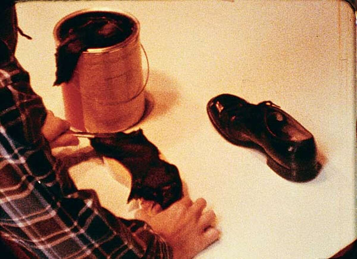 """Frame from """"Abstracting the Shoe"""" (1966) 16 mm color film by Bruce Nauman (with William Allan) Courtesy of Richard and Pamela Kramlich and UC Berkeley Art Museum"""
