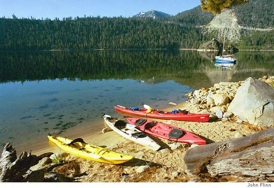 Kayaks on the beach at the Emerald Bay Boat-In Campground. Credit: John Flinn CAT