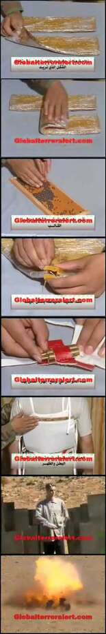 This sequence from a jihadist Web site shows how to construct a crude jacket-concealed bomb. Via Globalterroralert.com