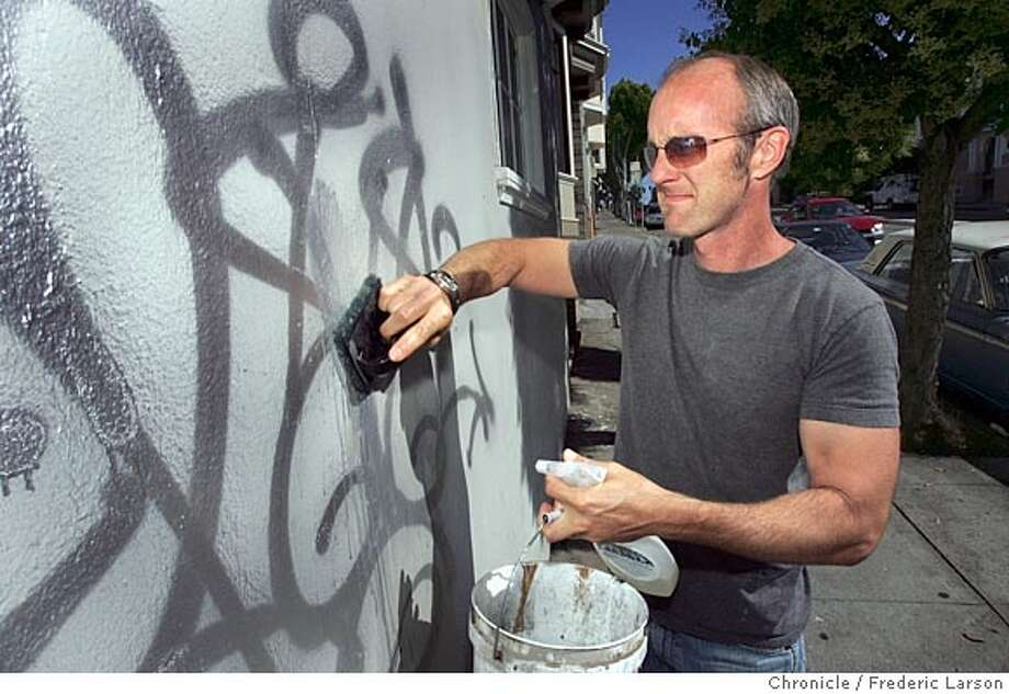 GRAFFITI011_fl.jpg William Luhr is involved with the city's Graffiti Watch program. He got interested in campaigning against graffiti when his Mission District house first got tagged right after he bought it and spend $13,000 on a paint job eight years ago. Since then, he says he gets hit about once a month. Last November, the city passed an ordinance that ended its program to remove graffiti for free and Luhr and other residents are now responsible for cleaning it off their property within 30 days.  6/29/05 San Francisco CA Frederic Larson The San Francisco Chronicle Photo: Frederic Larson