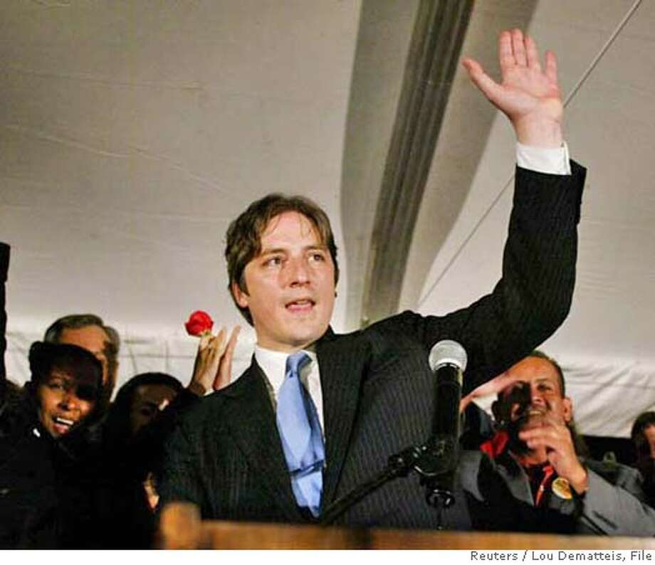 San Francisco mayoral candidate Matt Gonzalez of the Green Party waves to supporters after conceding defeat in a mayoral runoff against Democrat Gavin Newsom, at a election night event in San Francisco, December 9, 2003. If he had won, Gonzalez would have become the first member of the Green Party to be mayor of a major city in the United States. REUTERS/Lou Dematteis  ALSO RAN: 07/08/2004  Matt Gonzalez Ran on: 09-29-2004  This is the new logo for renamed Candlestick Park, home of the 49ers, who sold the rights to the stadium name to Monster Cable. Ran on: 09-29-2004  This is the new logo for renamed Candlestick Park, home of the 49ers, who sold the rights to the stadium name to Monster Cable. Ran on: 10-12-2004  Mayor Gavin Newsom Ran on: 11-09-2004  Chris Daly 0 Photo: LOU DEMATTEIS