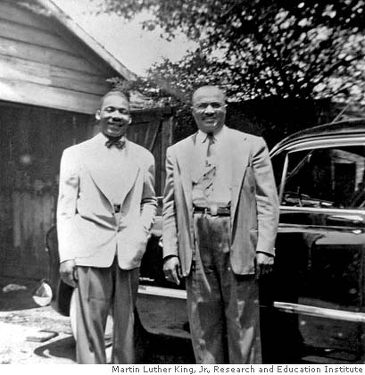 Martin Luther King poses with his father in front of the family car in 1948, the year he graduated from Morehouse College and began his studies at Crozer Theological Seminary. Courtesy / Martin Luther King, Jr., Research and Education Institute. MANDATORY CREDIT FOR PHOTOGRAPHER AND SAN FRANCISCO CHRONICLE/ - MAGS OUT