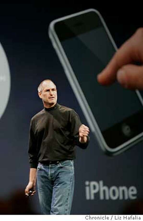 Steve Jobs introduces IPhone at the Apple MacWorld keynote address in Moscone West.  Photographed by Liz Hafalia Photo: Liz Hafalia