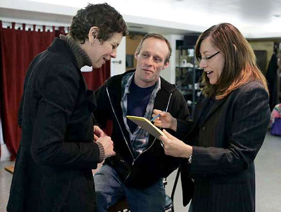 "Director Amy Glazer (right) works on a scene with actors Stacy Ross (left) and Rod Gnapp during a rehearsal of ""Frozen"" at the Marin Theater Company in Mill Valley, Calif. on Thursday, Dec. 21, 2006.  PAUL CHINN/The Chronicle  **Amy Glazer, Stacy Ross, Rod Gnapp MANDATORY CREDIT FOR PHOTOGRAPHER AND S.F. CHRONICLE/ - MAGS OUT Photo: PAUL CHINN"