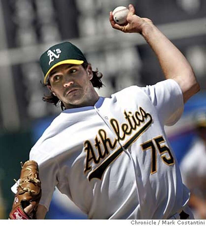 A's pitcher Barry Zito and the eight inning.  A'S V. CHICAGO WHITE SOX AT THE OAKLAND COLISEUM. Photograph by Mark Costantini/S.F. Chronicle. Photo: Mark Costantini