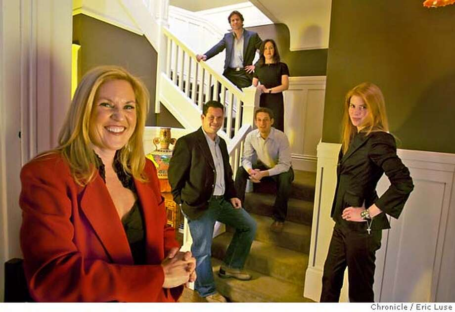"""philanthropists_021_el.JPG  Left to right going upstairs Jennifer King, Laura Arrillaga, Chuck Slaughter, Daniel Lurie, Noosheen Hashemi and Trevor Traina. Philanthropists in the home of Jennifer King donated for community use for kids called """"Foundation House"""" Photographer:  Eric Luse / The Chronicle names cq from source MANDATORY CREDIT FOR PHOTOG AND SF CHRONICLE/ -MAGS OUT Photo: Eric Luse"""