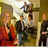 """philanthropists_021_el.JPG  Left to right going upstairs Jennifer King, Laura Arrillaga, Chuck Slaughter, Daniel Lurie, Noosheen Hashemi and Trevor Traina. Philanthropists in the home of Jennifer King donated for community use for kids called """"Foundation House"""" Photographer:  Eric Luse / The Chronicle names cq from source MANDATORY CREDIT FOR PHOTOG AND SF CHRONICLE/ -MAGS OUT"""