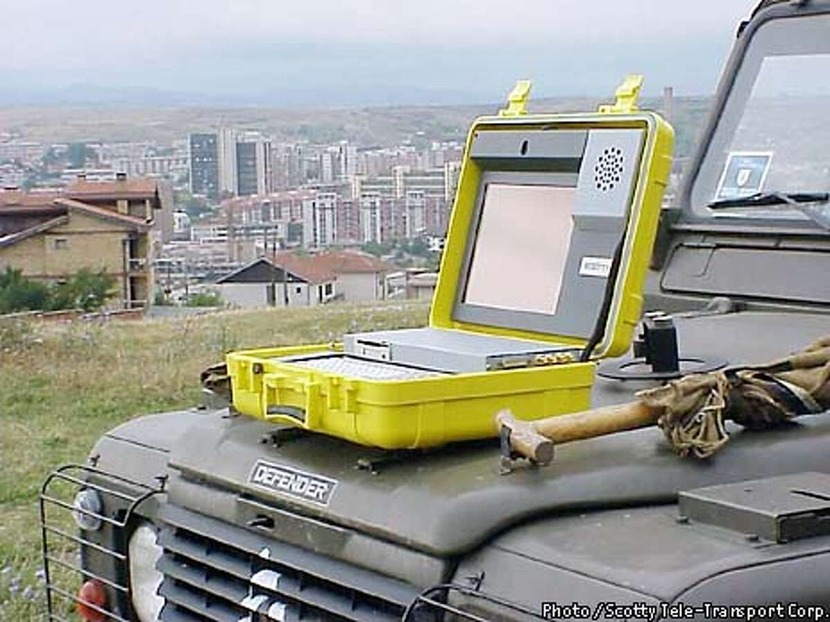Also being deployed in the war in Iraq is the $25,000 Scotty Mobile, a 28-pound videoconferencing unit housed in a bright yellow waterproof suitcase. This should only be used as secondary art, since previous images are of product with Bay Area connection. This product is from Austria. Photo / Scotty Tele-Transport Corp.