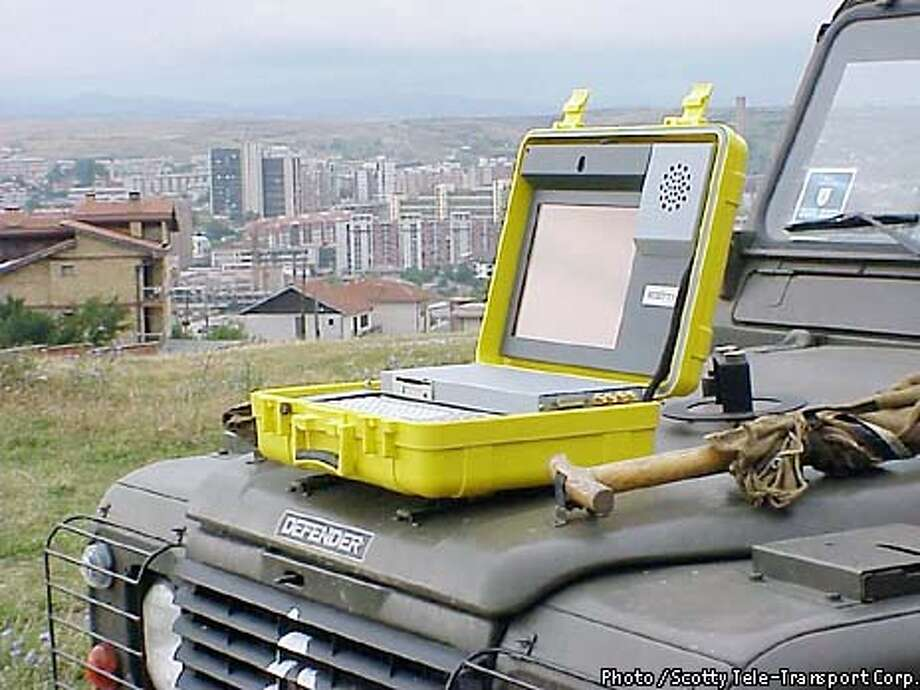 Also being deployed in the war in Iraq is the $25,000 Scotty Mobile, a 28-pound videoconferencing unit housed in a bright yellow waterproof suitcase. This should only be used as secondary art, since previous images are of product with Bay Area connection. This product is from Austria. Photo / Scotty Tele-Transport Corp. Photo: Scotty Tele-Transport Corp