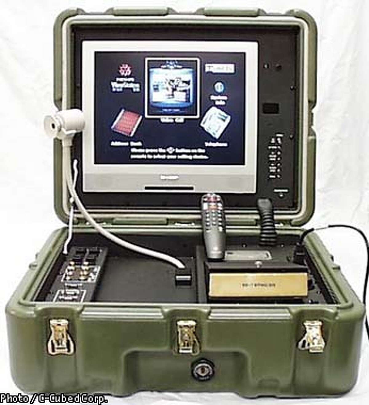 ViewCase Secure Transportable Video Teleconferencing System, which was developed for the U.S. military using technology from Polycom Corp., a Pleasanton firm that has the largest share of the corporate videoconferencing market. Photo / C-Cubed Corp.