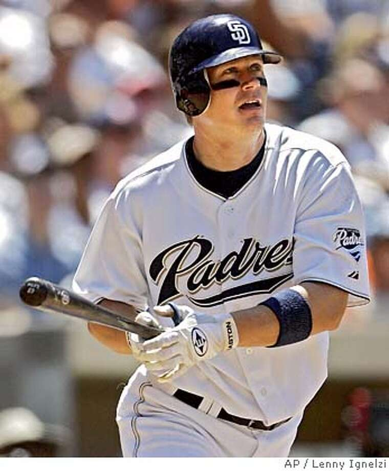 San Diego Padres' Geoff Blum watches as his bases loaded double heads into the right field corner in the third inning against the San Francisco Giants Sunday July 3, 2005 in San Diego. (AP Photo/Lenny Ignelzi) Photo: LENNY IGNELZI
