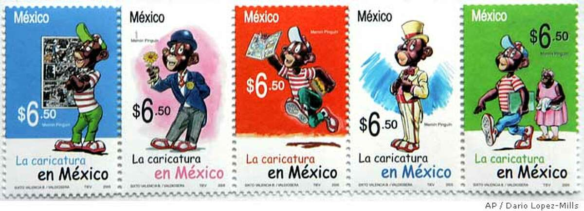 A series of five stamps was released for general use on Wenesday June 29, 2005 issued by the Mexican government depicting an exaggerated black cartoon character known as Memin Pinguin, a child character from a comic book started in the 1940s that is still published in Mexico. The release comes just weeks after Mexican president Vicente Fox riled many by saying that Mexican migrants take jobs in the United States that