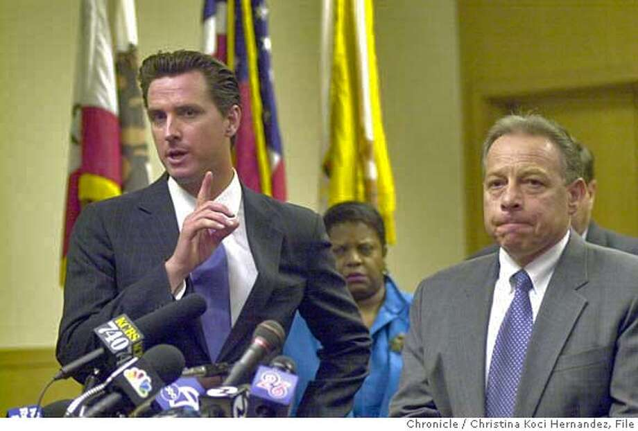 070904_arrest_kocihernandez CHRISTINA KOCI HERNANDEZ/CHRONICLE (L) Mayor Newsom and (R) Deputy Chief Morris Tabak , at the press conference. Mayor Gavin Newsom's press conference at the hall of Justice, of the arrest of Emile Fort, for murder.Ran on: 03-20-2006  Kamala Harris is praised for professionalism, criticized for her handling of homicide cases.Ran on: 03-20-2006  Kamala Harris is praised for professionalism, criticized for her handling of homicide cases. MANDATORY CREDIT FOR PHOTOG AND SF CHRONICLE/ -MAGS OUT Photo: CHRISTINA KOCI HERNANDEZ