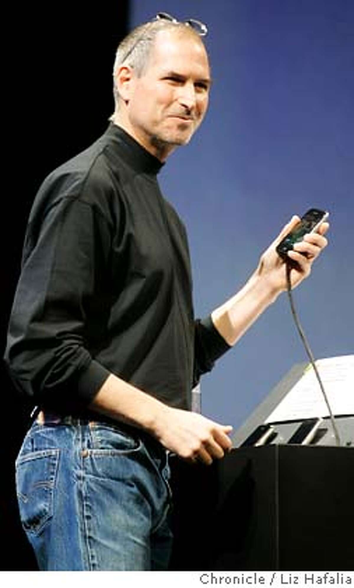Steve Jobs introduces IPhone at the keynote address in Moscone West. Photographed by Liz Hafalia