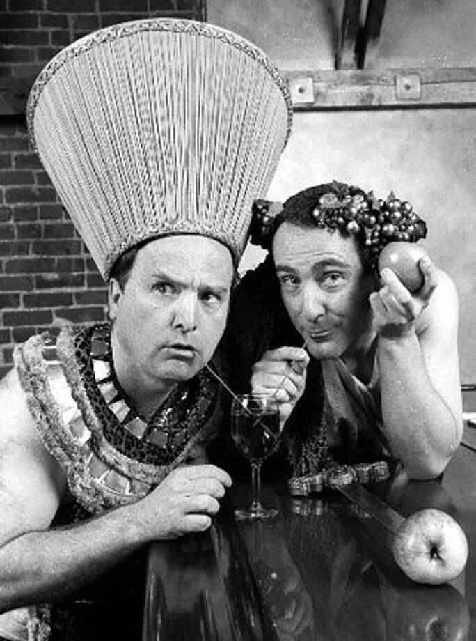 "In ""The Big Bang,"" now at San Jose's Theatre on San Pedro Square, Bob Greene, left, and Richard Frederick, right, play the creators of a 12-hour musical extravaganza about the entire history of civilization."