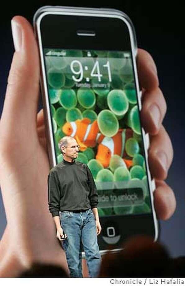 Steve Jobs introduces IPhone at the keynote address in Moscone West.  Photographed by Liz Hafalia Photo: Liz Hafalia