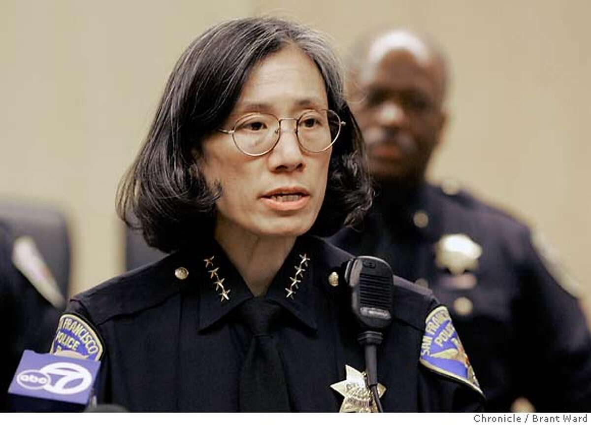 """SFPD001_ward.jpg San Francisco Police Chief Heather Fong held a press conference at the Hall of Justice to comment about the Chronicle's """"use of force"""" series Monday. Brant Ward2/6/06 Ran on: 03-29-2006 Heather FongRan on: 03-29-2006 Heather FongRan on: 03-29-2006 Heather FongRan on: 03-29-2006 Ran on: 03-29-2006 Heather FongRan on: 03-29-2006 Heather FongRan on: 03-29-2006 Heather FongRan on: 04-05-2006 Mayor Gavin Newsom said The Chronicle series on the use of force persuaded him to look beyond the police video incident.Ran on: 04-05-2006 Mayor Gavin Newsom said The Chronicles series on the use of force persuaded him to look beyond the police video incident. Ran on: 09-01-2006 Heather Fong, San Francisco police chief, says the strong partnership with the community must continue. Ran on: 11-14-2006 Police Chief Heather Fong wants captains to have say-so in what beats officers walk. Ran on: 11-14-2006 Police Chief Heather Fong wants captains to have say-so in what beats officers walk. Ran on: 11-15-2006 Supervisor Bevan Dufty Ran on: 11-15-2006 Ran on: 11-15-2006 Supervisor Bevan Dufty Ran on: 11-15-2006 Supervisor Bevan Dufty Ran on: 11-15-2006 Supervisor Bevan Dufty"""
