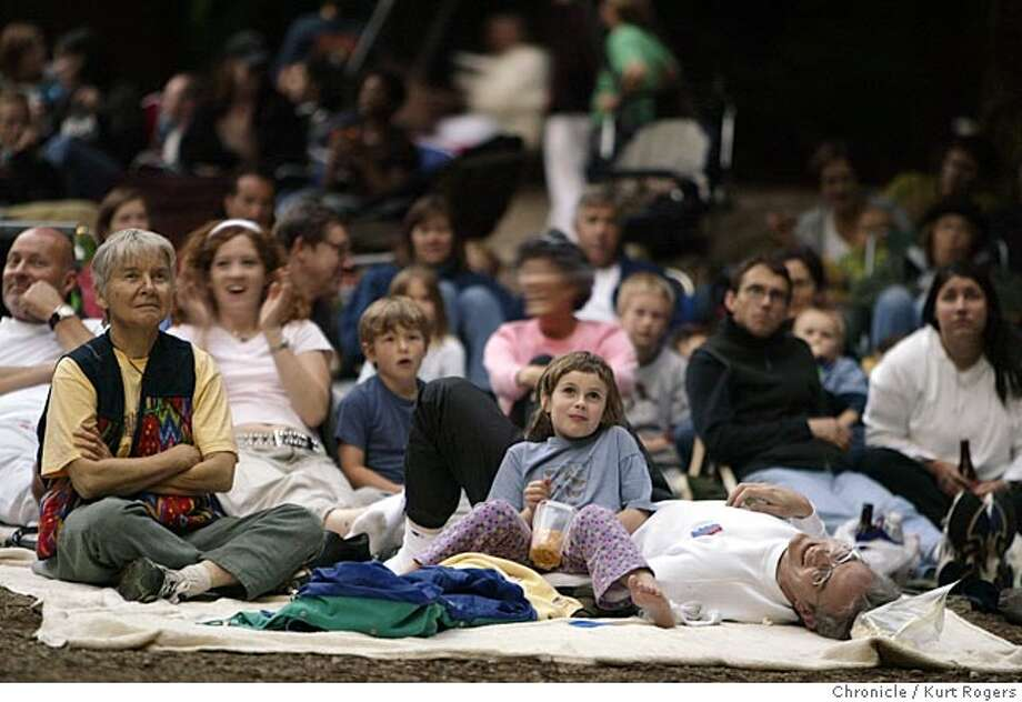 "Film Night in the Park, the North Bay's original outdoor film festival, screens movies outside on weekends all summer long. This is its 14th year of turning local parks into outdoor movie theaters where families and folks turn out with their pillows and blankets for summer movie-viewing.""The Princess Bride"" shows at Old Mill park in Mill Valley 6/10/05 in Mill Valley ,CA.  KURT ROGERS/THE CHRONICLE Photo: KURT ROGERS"