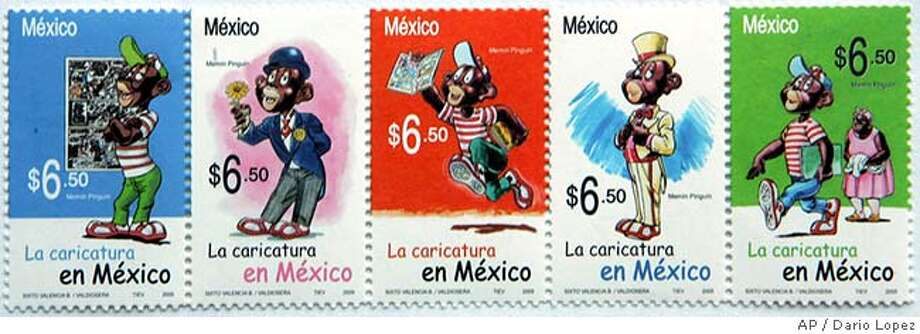 """A series of five stamps was released for general use on Wenesday June 29, 2005 issued by the Mexican government depicting an exaggerated black cartoon character known as Memin Pinguin, a child character from a comic book started in the 1940s that is still published in Mexico. The release comes just weeks after Mexican president Vicente Fox riled many by saying that Mexican migrants take jobs in the United States that """"not even blacks"""" want. (AP Photo/Dario Lopez-Mills)**EFE OUT** Photo: DARIO LOPEZ-MILLS"""