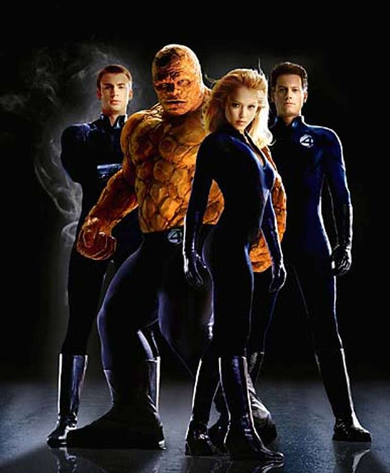 NI-SS1 The FANTASTIC FOUR are (left to right): Chris Evans (as The Human Torch), Michael Chiklis (The Thing), Jessica Alba (The Invisible Woman) and Ioan Gruffudd (Mr. Fantastic). Photo Credit: Nels Israelson TM and � 2004 Twentieth Century Fox. All rights reserved. Not for sale or duplication. Fantastic Four character likenesses TM and � 2004 Marvel Characters, Inc. All rights reserved. Photo: Nels Israelson/Twentieth Century