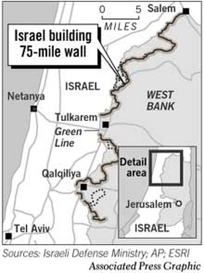 Israel Building 75-mile Wall. Chronicle Graphic
