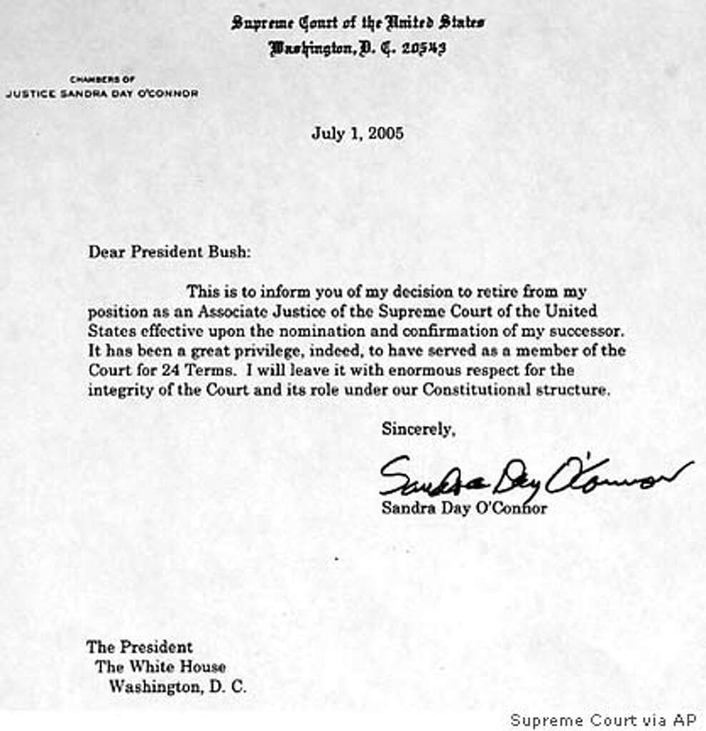this is a copy of the letter that supreme court justice sandra day oconnor - How To Write A Letter Of Resignation Due To Retirement