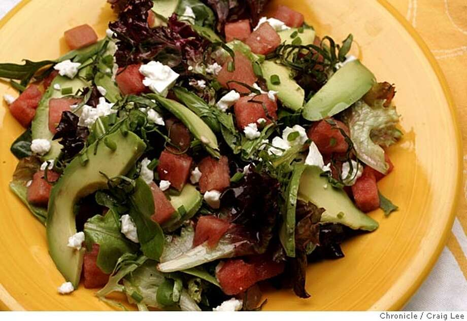 Wine pairing recipe, Watermelon and Avocado Salad. Food styled by Amanda Gold.  Event on 6/23/05 in San Francisco. Craig Lee / The Chronicle Photo: Craig Lee