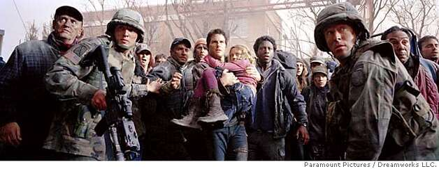 Tom Cruise (center left) stars as Ray Ferrier, a man who would do anything to protect his daughter Rachel (Dakota Fanning, center right), during a catastrophic alien attack in �War of the Worlds,� directed by Steven Spielberg. Paramount Pictures and DreamWorks Pictures present an Amblin Entertainment/Cruise|Wagner Production, a Steven Spielberg film, �War of the Worlds.� Directed by Steven Spielberg from a screenplay by Josh Friedman and David Koepp, based on the novel by H. G. Wells, the film is produced by Kathleen Kennedy and Colin Wilson. The executive producer is Paula Wagner. Paramount Pictures distributes. The film will be released on July 29, 2005.  Photo Credit: Andrew Cooper  Copyright � MMV by PARAMOUNT PICTURES and DREAMWORKS LLC.
