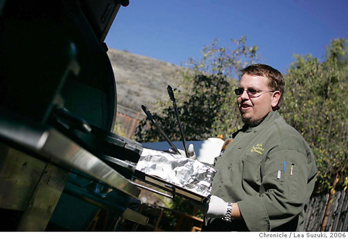 google03_190_ls.JPG Ayers cooks on his outdoor grill. Charlie Ayers, Google's former chef prepares a catered meal in his kitchen on Wednesday November 29, 2006. Photo by Lea Suzuki/The San Francisco Chronicle Photo taken on 11/29/06, in San Carlos, CA. **(themselves) cq.
