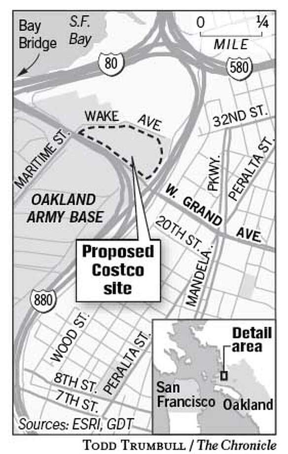 Proposed Costco Site. Chronicle graphic by Todd Trumbull