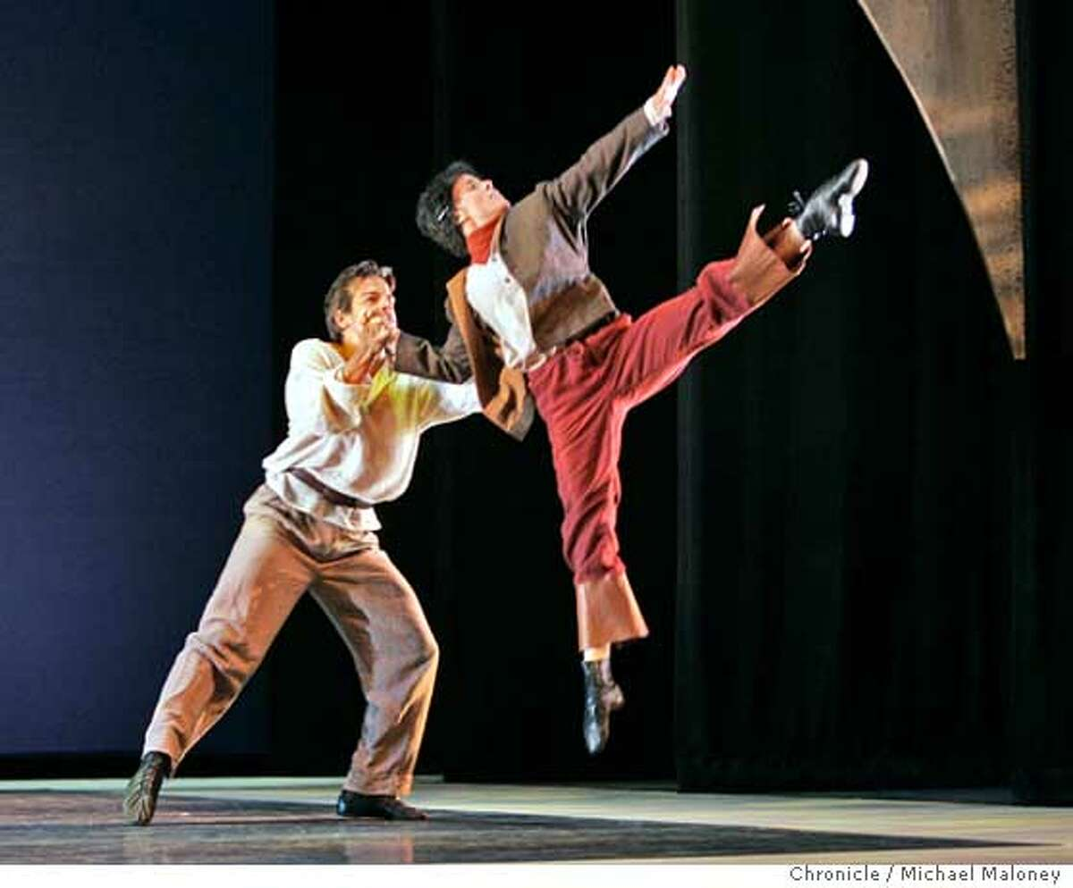 Jenkyns (cq) Pelaez (left) and Tatiana A'Virmond in a duet. Dress rehearsal for new ballet, Diadorim performed by the Mark Foehringer Dance Company at the Yerba Buena Center for the Arts. Photo by Michael Maloney / San Francisco Chronicle