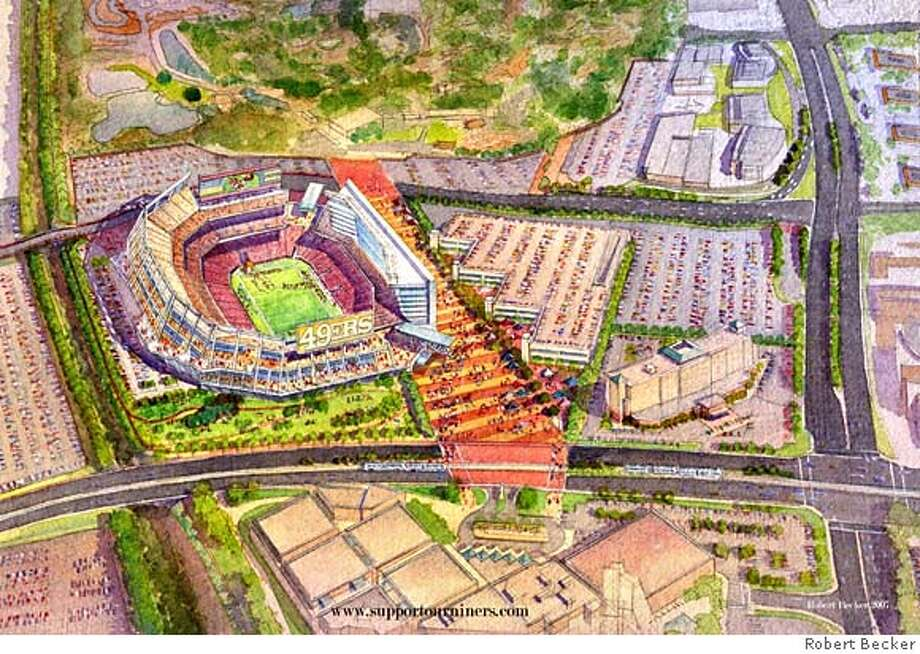 aerial view of 49er stadium propsal in santa clara Photo: Drawing By Robert Becker