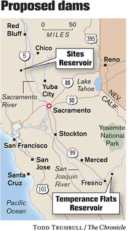 Proposed Dams. Chronicle graphic by Todd Trumbull Photo: Todd Trumbull
