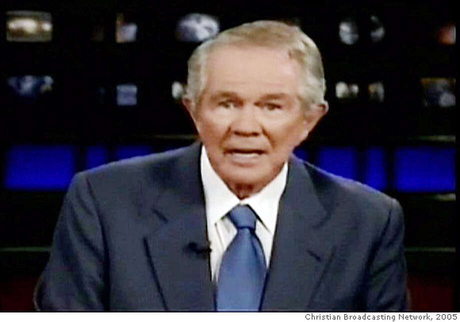 """In this image taken from television, televangelist Pat Robertson makes remarks on the Christian Broadcasting Network show """"The 700 Club"""", which aired Monday Aug. 22, 2005. Robertson called on Monday for the assassination of Venezuelan President Hugo Chavez, calling him a """"terrific danger"""" to the United States. Robertson, founder of the Christian Coalition of America and a former presidential candidate, said on """"The 700 Club"""" it was the United States' duty to stop Chavez from making Venezuela a """"launching pad for communist infiltration and Muslim extremism."""" (AP Photo/""""The 700 Club"""", CBN) Ran on: 08-24-2005  Venezuelan President Hugo Chavez (left) joins Cuban President Fidel Castro at Havana's airport at the end of a three-day visit. Ran on: 08-24-2005  Venezuelan President Hugo Chavez (left) joins Cuban President Fidel Castro at Havana's airport at the end of a three-day visit. Photo: AP Photo/""""The 700 Club"""",  CBN"""