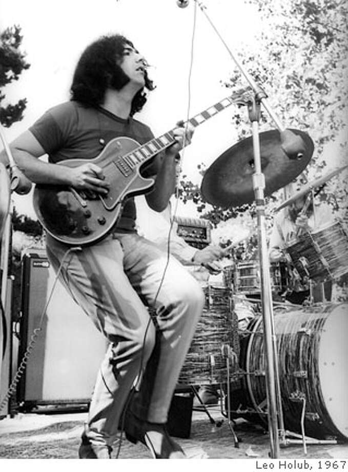 Jerry Garcia with his black Les Paul at a free concert in San Jose, June 1967. Also to note is Billy's new Ludwig drum kit. Sunn and Custom amps are visible as well. photo by Leo Holub Photo: Leo Holub
