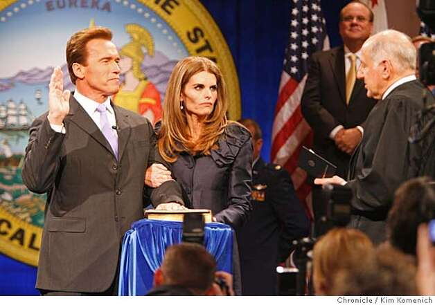 Governor Arnold Schwarzenegger is inaugurated at Sacramento Memorial Auditorium. L to R, Gov. Schwarzenegger, Maria Shriver, Celifornia State Supreme Court Justice Ron George.  Photo by Kim Komenich/The Chronicle Photo: Kim Komenich