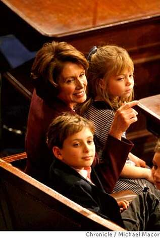 pelosi4_517_mac.jpg Speaker Pelsoi is joined on the house floor with a trio of her grandkids. The 110th Congress opening day ceremonies as Nancy Pelosi is officially voted into office as Speaker of the House today. Event in, Washington, DC, on 1/4/07. Photo by: Michael Macor/ San Francisco Chronicle Mandatory credit for Photographer and San Francisco Chronicle / Magazines Out Photo: Michael Macor