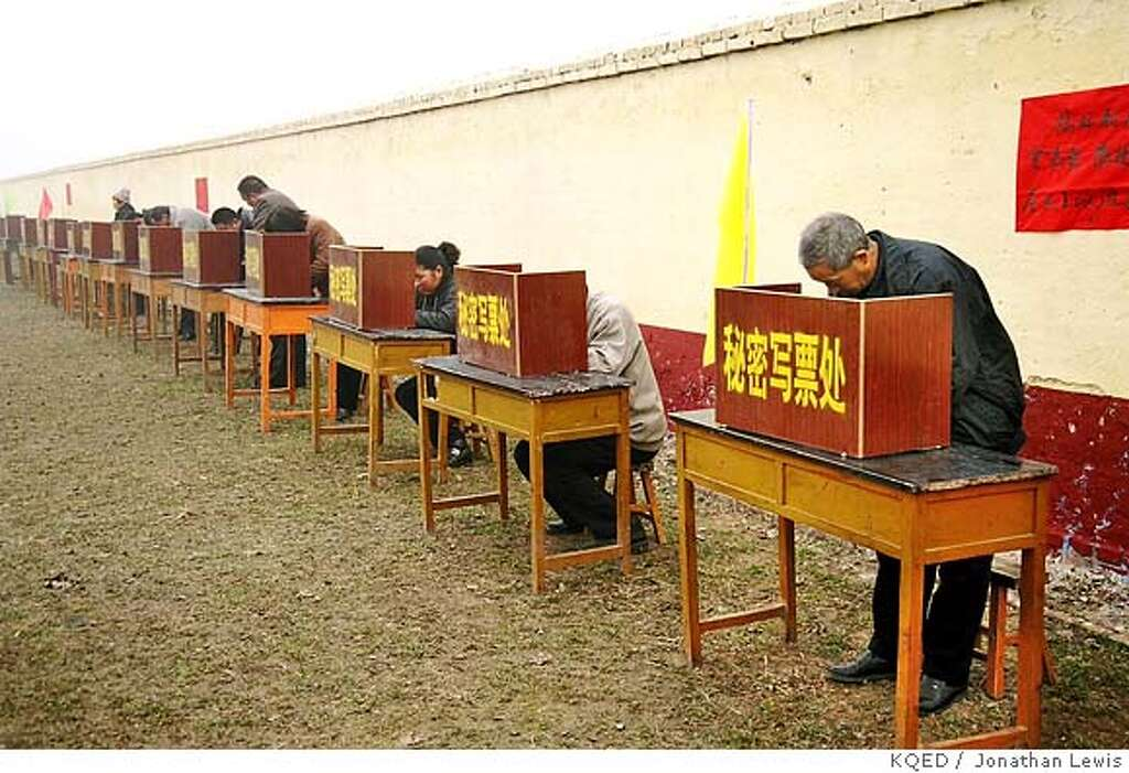 china from the inside voters at polling booths in liuqian village shandong province where