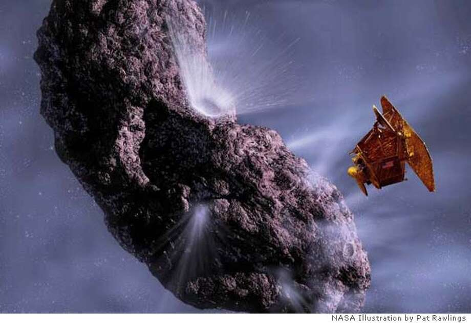 This artist's conception gives us a look at the moment of impact and the forming of the crater on the comet Image Credit: NASA/JPL/UMD