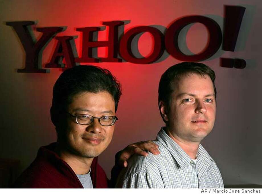 �** ADVANCE FOR USE MONDAY, FEB. 28, 2005 ** Yahoo co founders Jerry Yang, left, and David Filo pose for a portrait in the company's headquarters in Sunnyvale, Calif. on Wednesday, Feb. 23, 2005. (AP Photo/Marcio Jose Sanchez) Ran on: 02-28-2005 Yahoo co-founders Jerry Yang (left) and David Filo. Ran on: 04-02-2005 Jerry Yang Yahoo ADVANCE FOR USE MONDAY, FEB. 28, 2005 Photo: MARCIO JOSE SANCHEZ