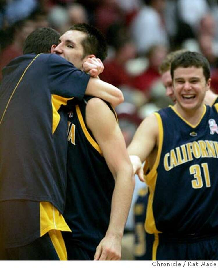 CAL_STANFORD_2_0489_KW_.jpg  Cal State Golden Bear's Ryan Anderson gets a hug from an unidentified teammate after being one of the high scorers to help win the game against the Cal State Golden Bears during the Pac 10 Conference Game at Stanford University in the Maples Pavilion in Palo Alto on January 3, 2007. Alex Pribble (right) #31 seems happy with the win Kat Wade/The Chronicle Ran on: 01-04-2007  Cal's Ryan Anderson, who scored 12 points and had six rebounds, gets a hug from a teammate after the game. Photo: Kat Wade