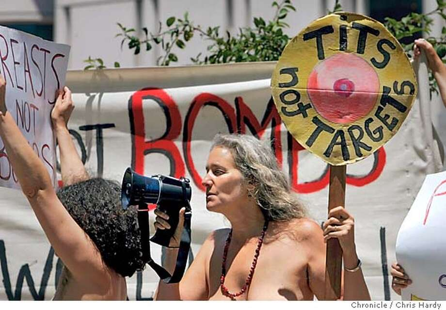 Antiwar protestors in Union Square bare their chests to protest the war in Iraq.  in San Francisco  6/30/05 Chris Hardy / San Francisco Chronicle Photo: Chris Hardy