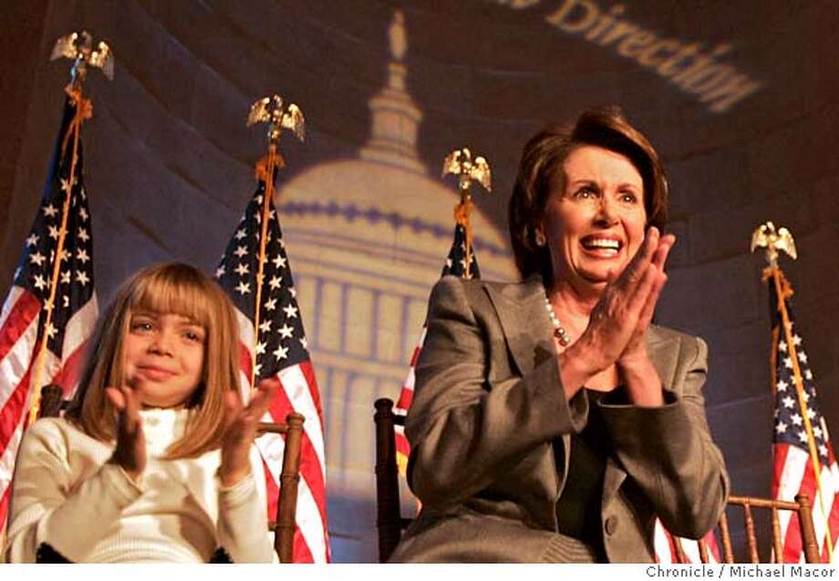 pelosi3_154_mac.jpg Nancy Pelosi is joined onstage by her grandaughter, 8 year old Madeline Prowda of Phoenix, Az. Women's Tea, (hosted by the Democratic Congressional Campaign Committee) Honoring speaker-designate Nancy Pelosi at the Mellon Auditorium, downtown Washington DC. Congresswoman Nancy Pelosi prepares to take over a Speaker of the House on Thursday, she attends events to celebrate the new position. Event in, Washington, DC, on 1/3/07. Photo by: Michael Macor/ San Francisco Chronicle Mandatory credit for Photographer and San Francisco Chronicle / Magazines Out Photo: Michael Macor