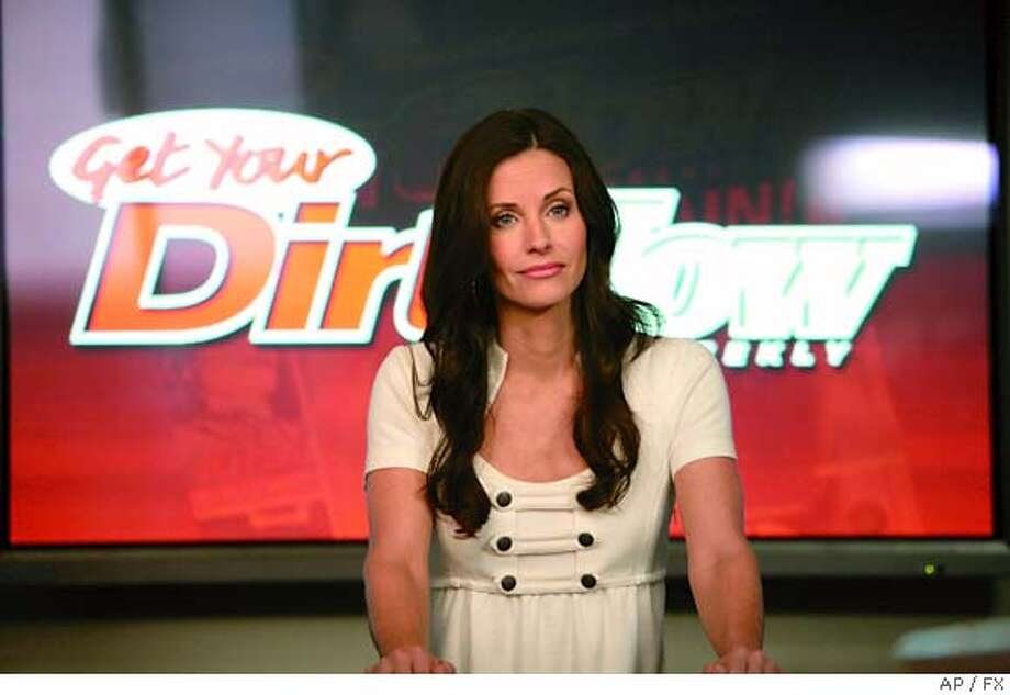 "This undated photo supplied by FX shows Courteney Cox playing Lucy Spiller, the ruthless, powerful editor-in-chief of the celebrity tabloid magazines DRRT and NOW on the ""Dirt, ""DIRT episode airing Jan. 9, 2007 on FX. ""Dirt"" allows Cox, 42, to effectively vanquish her ""Friends"" character of Monica, which made her one of America's sitcom sweethearts, and slither into the driven Lucy, who struggles with her own unstable psyche.(AP Photo/FX) , UNDATED PHOTO SUPPLIED BY FX Photo: Ho"